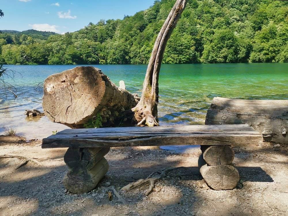 Ljeto na Plitvičkim jezerima Drvena lupa uz jezero